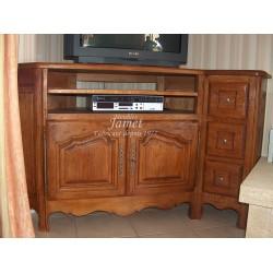 Meuble télévision HIFI en chêne 3 tiroirs