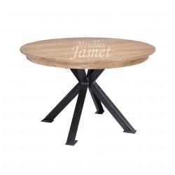 Table ronde en chêne pieds en fer