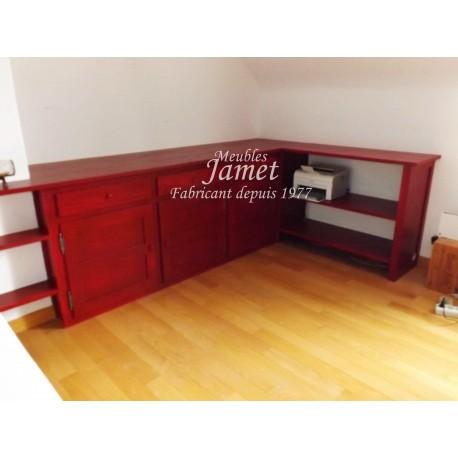 Agencement de bureau en bois rouge