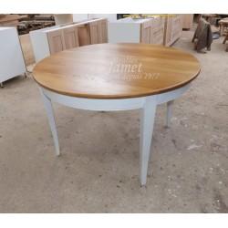 Table ronde en bois pieds sabre