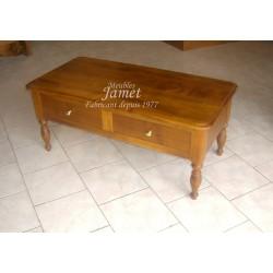 Table de salon en bois lisse double tiroir